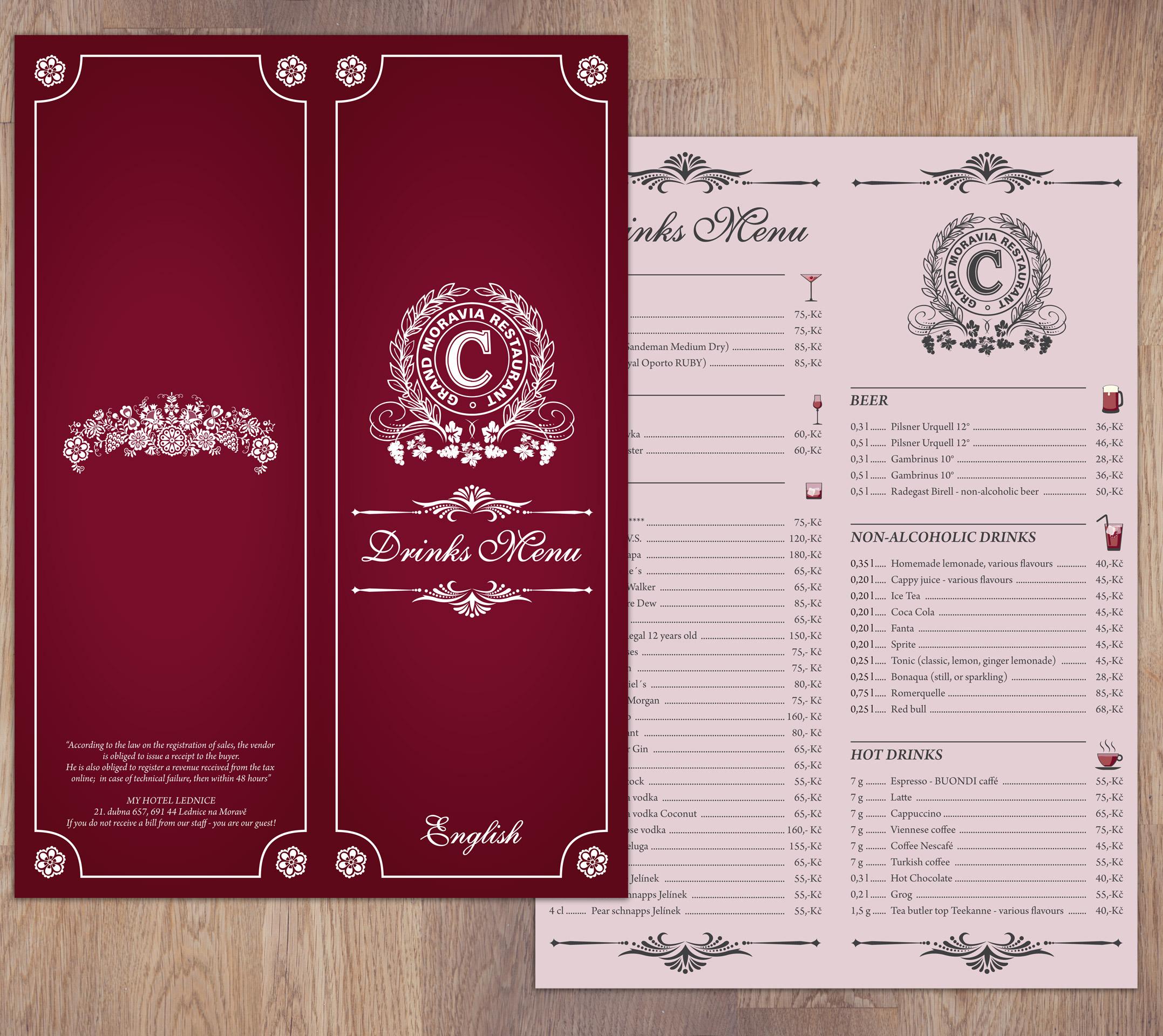 Drinks menu design for My Hotel