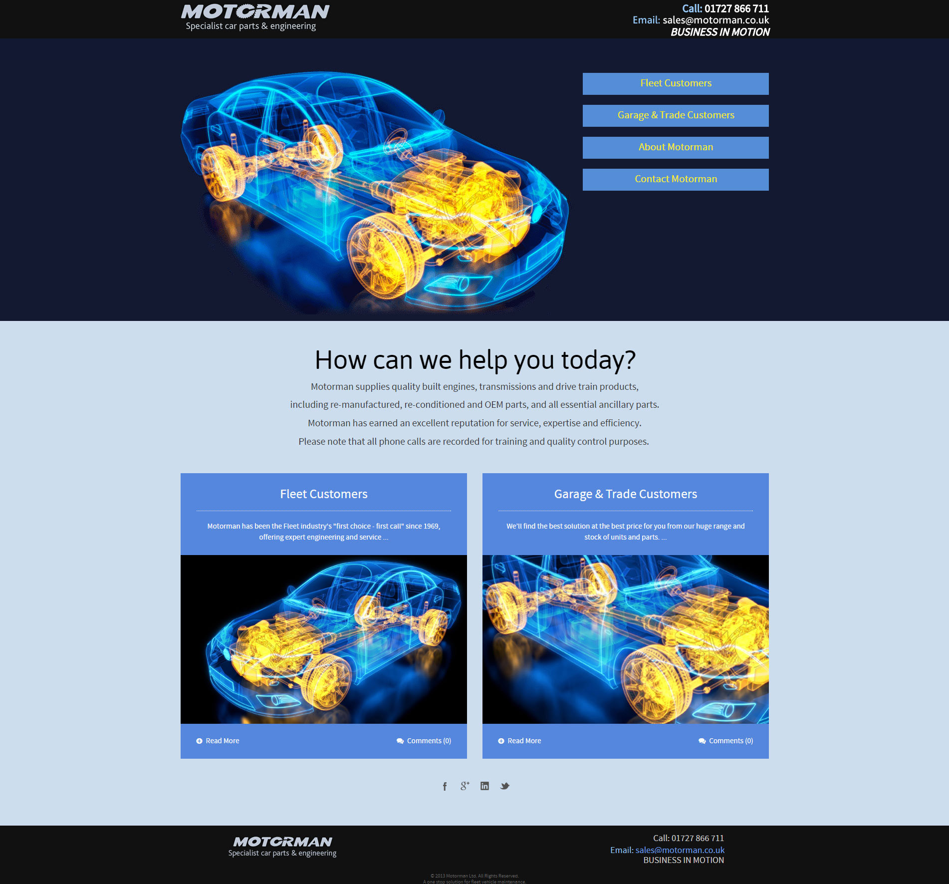 Website design for Motorman