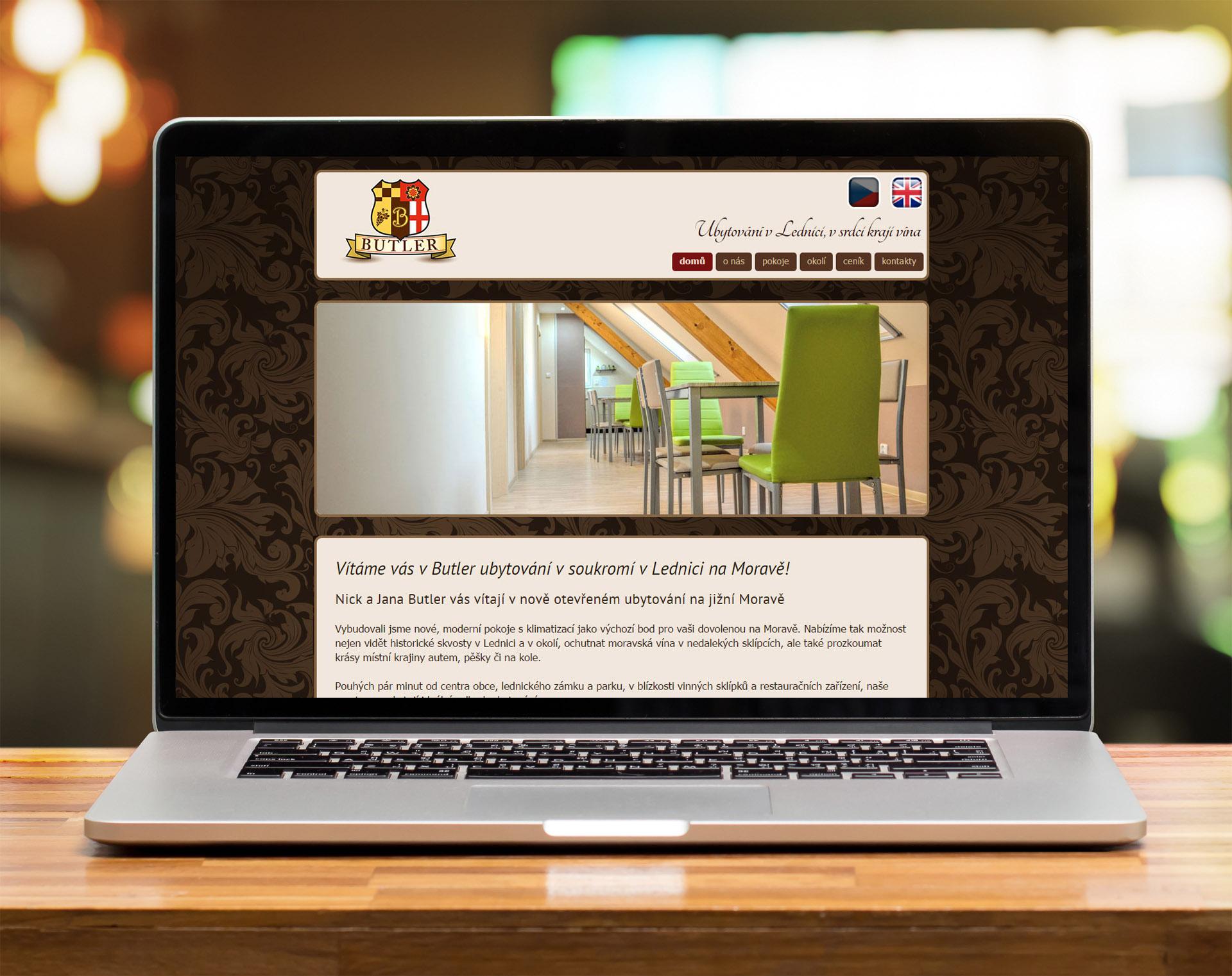 Butler ubytovani Lednice website design